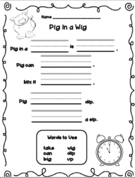 Pig In a Wig Pocket Chart - First Grade