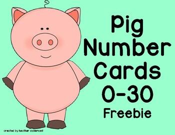 Pig Number Cards 0-30 Freebie