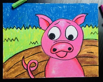Pig Oil Pastel Art Project