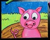 Pig Oil Pastel Art Project