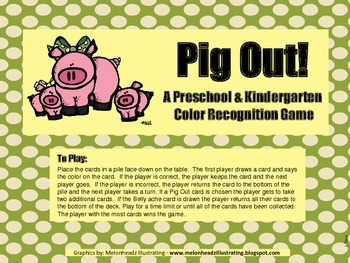Pig Out Color Recognition Game