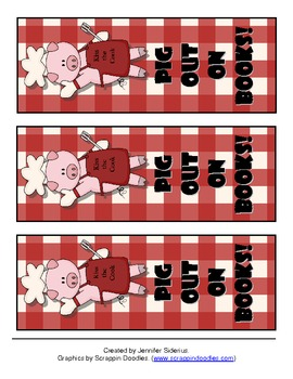 Pig Out on Books Bookmarks {FREEBIE}