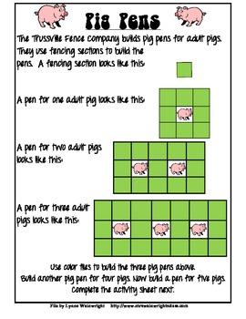 Pig Pens Math Menu Activity
