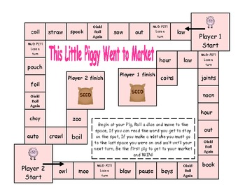 Pig Pens (aw, au, ow, ou, ew) games and posters