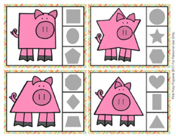 Pig Shapes Clip Cards