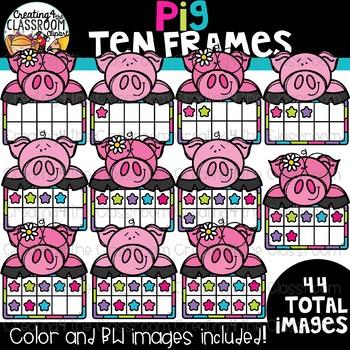 Pig Ten Frames Clipart {Math Clipart}