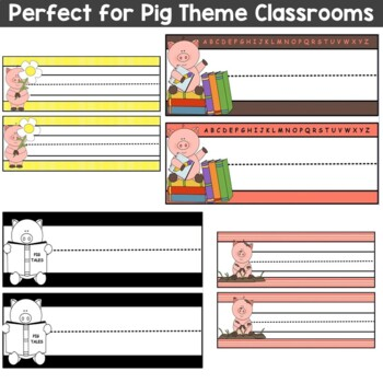 Pig Theme Name Plates Set of 20 Word Wall Cards