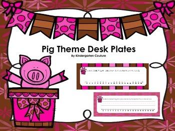 Pig Theme Desk Plates