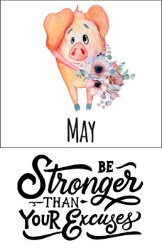 Pig Theme Yearly and Monthly Planning Calendar- Goal Planner or School Agenda