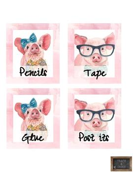 Pig Themed Classroom Labels