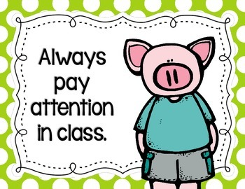 Pig-Themed Classroom Rules Posters