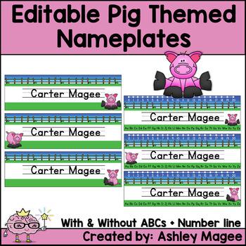Pig Themed Nameplate/Deskplate/Nametags