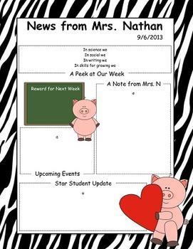 Pig Themed Newsletter