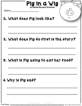 Pig in a Wig Close Reading 1st Grade Reading Street Resource Packet