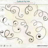 Curlicue Swirl Clip Art, Curly Flourish Doodles, Whimsical Doodles: Pigtails