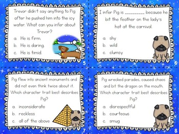Pig the Tourist - Character Traits, Physical Traits & Feelings Task Cards