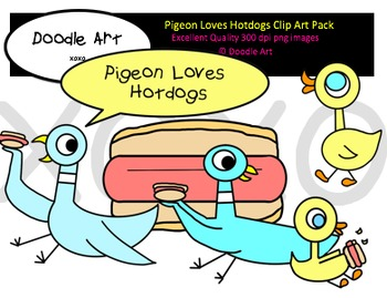 Pigeon Loves Hotdogs Clipart Pack