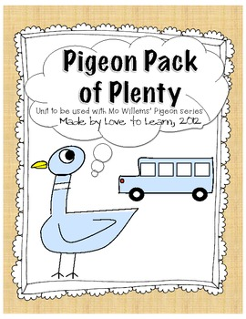 Pigeon Pack - Math, Writing and Art for Mo Willems' Books