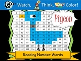 Pigeon Reading Number Words - Watch, Think, Color Game!