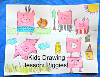 Piggies Cartooning Lesson Drawing Lesson Telling Stories with Pictures Easy Prep