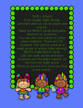 TROLL BINGO!!! First Grade Sight Words (Common Core Standards)