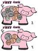 Piggy Bank Coins Math Center BILINGUAL