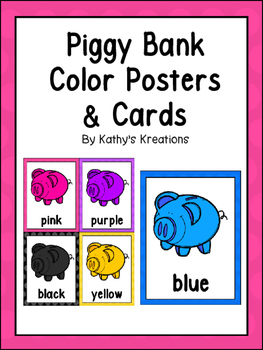 Piggy Bank Color Posters And Cards