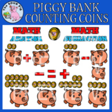 Piggy Bank - Counting Coins Clipart