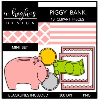Piggy Bank Mini Clipart Set {A Hughes Design}
