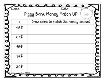 Piggy Bank Money Match Up