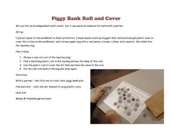 Piggy Bank Money Roll and Cover Math Center
