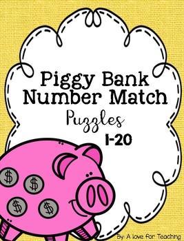 Piggy Bank Number Match Puzzles {1-20}