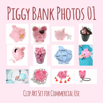 Piggy Bank Photos 01 Photograph Clip Art Set for Commercial Use