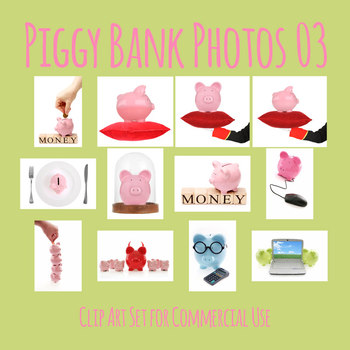 Piggy Bank Photos 03 Photograph Clip Art Set for Commercial Use