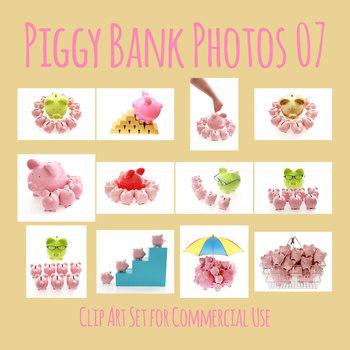 Piggy Bank Photos 07 Photograph Clip Art Set for Commercial Use