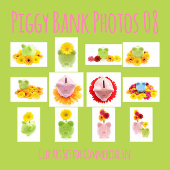 Piggy Bank Photos with Flowers Photograph Clip Art Set for Commercial Use