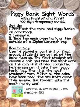 Piggy Bank Sight Words - High Frequency Words