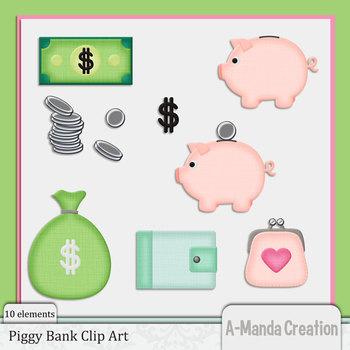 Piggy Bank and Money Clip Art