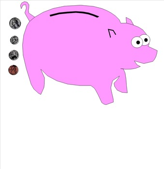 Piggy Bank with Coins for Smartboards
