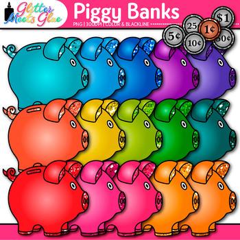 Rainbow Piggy Bank Clip Art {Math Manipulatives & Coins for Counting Money}