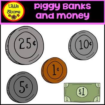 Piggy Banks and Money Clip Art