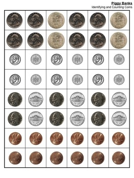 Piggy Banks! identify and count coins