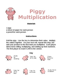 Piggy Multiplication for 4th and 5th Grades