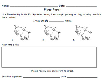 Piggy Papers- Penalty for Pushing in Line