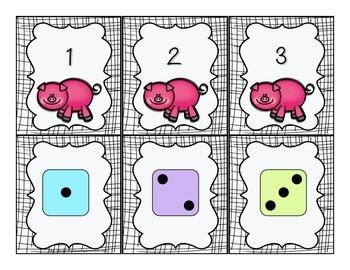 Piggy Poof! Subitizing to 5 {FREE}