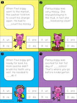 Piggy Prefix Task and Clip Cards!