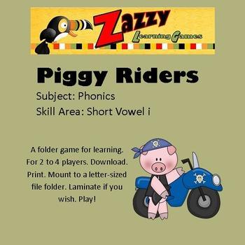 Piggy Riders Folder Game Phonics Short i