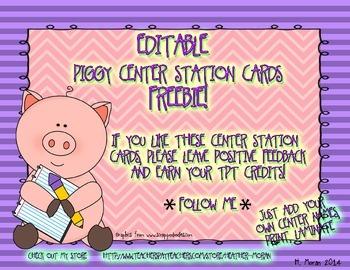 EDITABLE Piggy Themed Center Station Cards *PDF