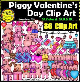 Piggy Valentine's Day Clip Art  Digital Images Clipart 40% OFF THE NEXT 24 HRS