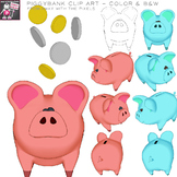 Piggybank and Coin Clip Art Images / Color and Black and White